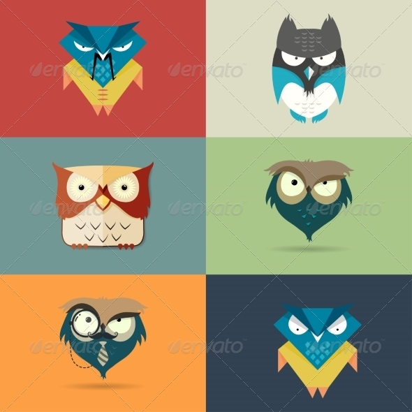 Cartoon Owl Icons - Animals Characters