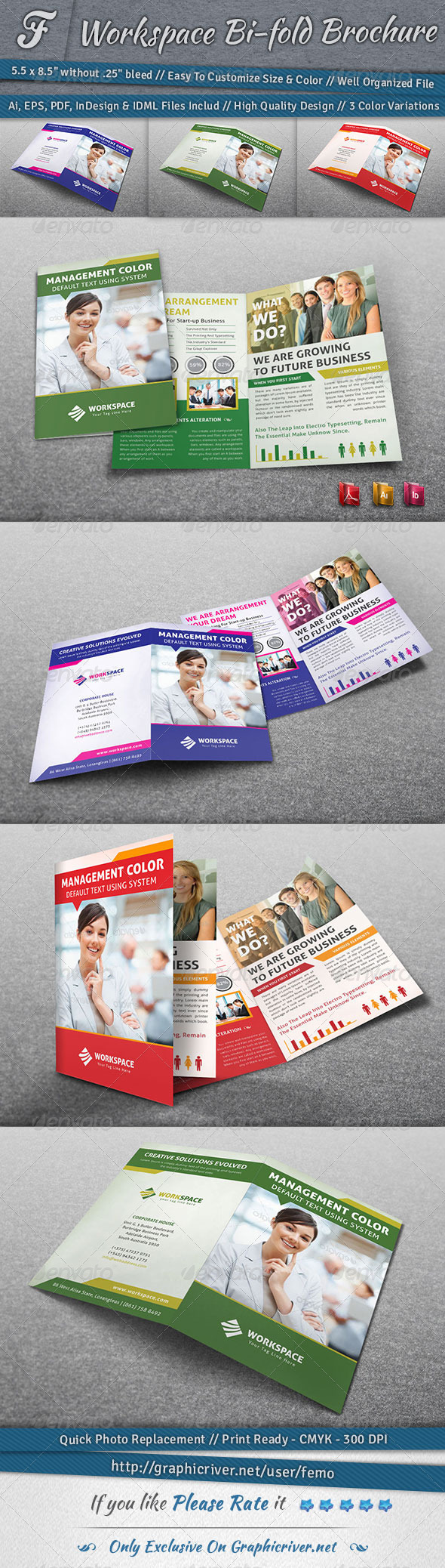 Workspace Bi-fold Brochure - Corporate Brochures