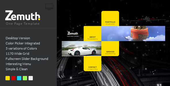 Zemuth - One Page Template - Creative Muse Templates
