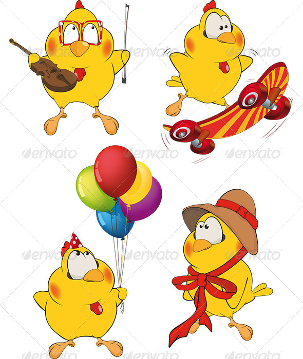 Set of Chicken Cartoons - Animals Characters
