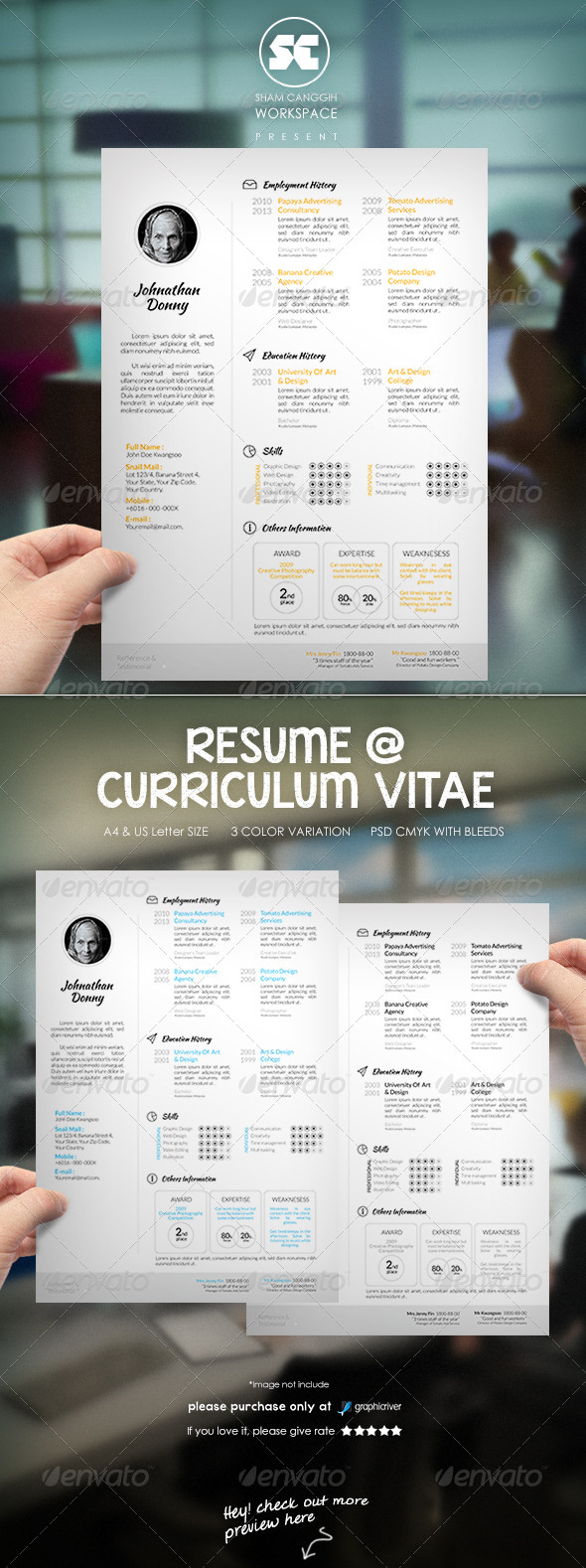 Clean & Modern Resume CV - Resumes Stationery