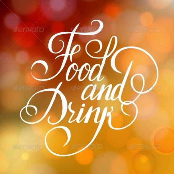 Food and Drink Typographic Poster Design - Decorative Symbols Decorative