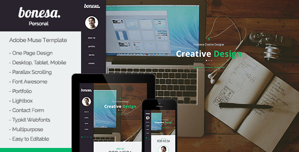 Bonesa - Portfolio One Page Muse Template - Personal Muse Templates