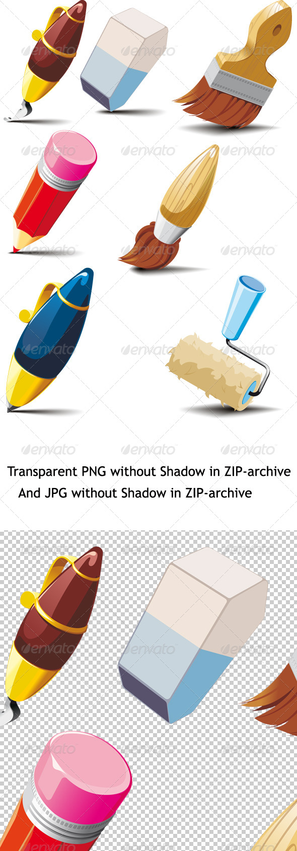 Big Set of Stationery for Writing and Drawing - Man-made Objects Objects