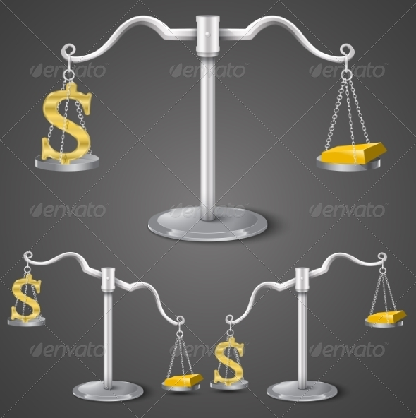 Balance Between Dollar and Gold - Concepts Business