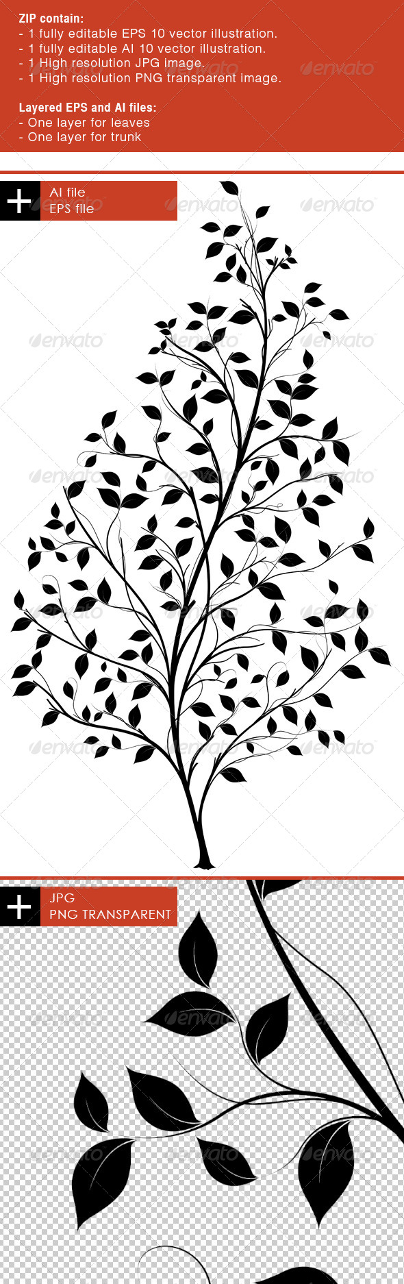 Vector Tree Silhouette - Graphic element - Nature Conceptual