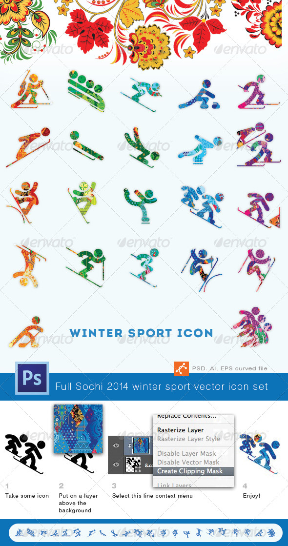 Sochi 2014 Winter Sports Icon Set - People Characters