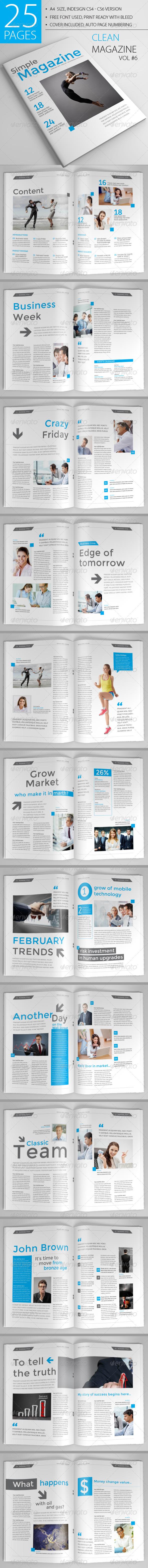 25 Pages Clean Magazine Vol6 - Magazines Print Templates