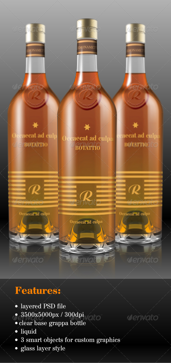 Grappa Bottle Mock-Up  - Food and Drink Packaging