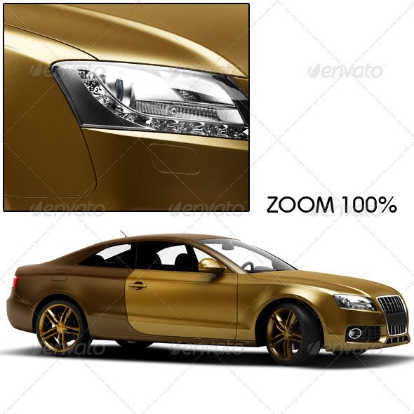 Gold Car - 3D Renders Graphics