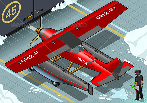 Isometric Artic Hydroplane Landed in Rear View - Objects Vectors