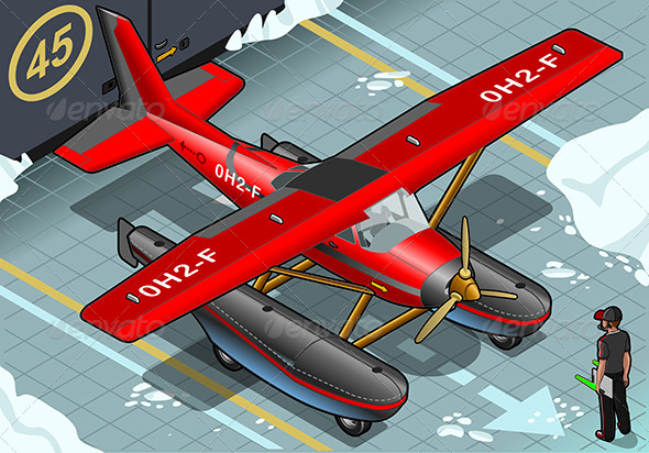 Isometric Artic Hydroplane Landed in Front View - Objects Vectors