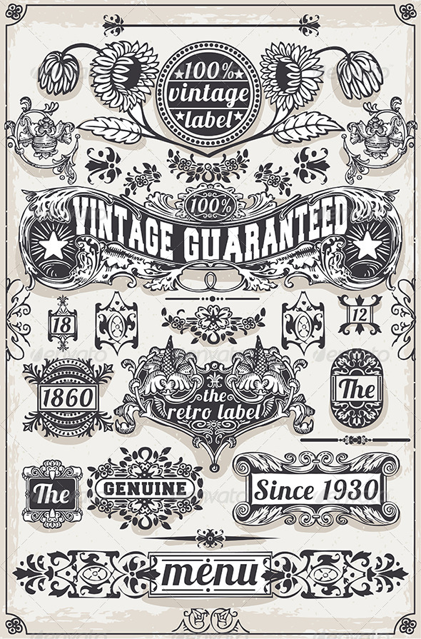 Vintage Hand Drawn Graphic Banners and Labels - Decorative Symbols Decorative
