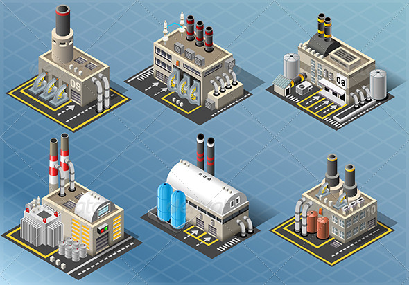 Set of Energy Industries Buildings - Buildings Objects