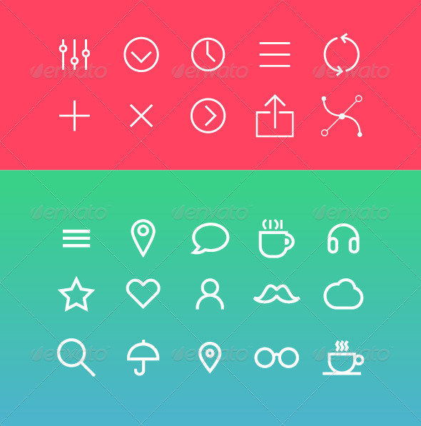 Modern Vector Icons Set in Flat Style - Icons