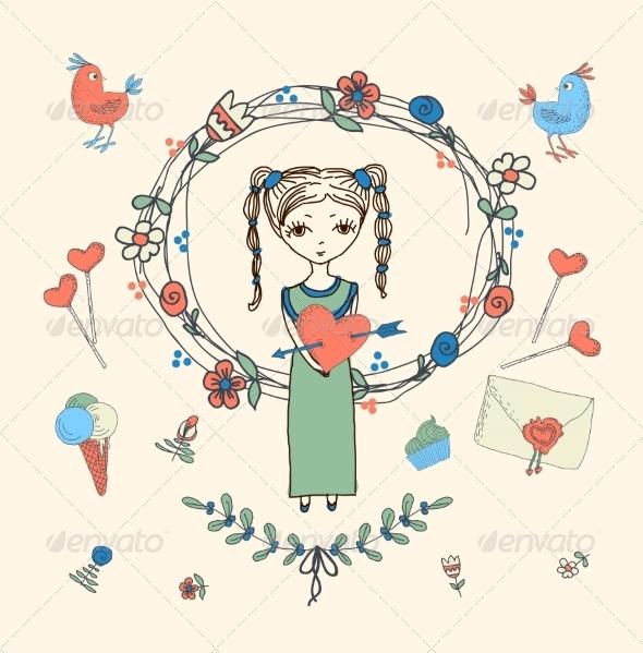 Love Decorative Elements Set - Valentines Seasons/Holidays