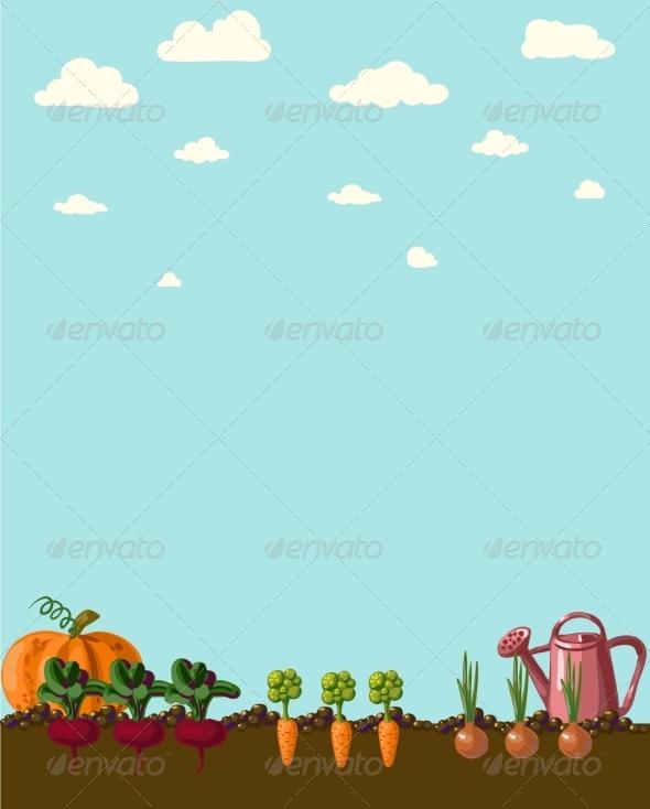 Vintage Garden Banner with Root Veggies - Flowers & Plants Nature