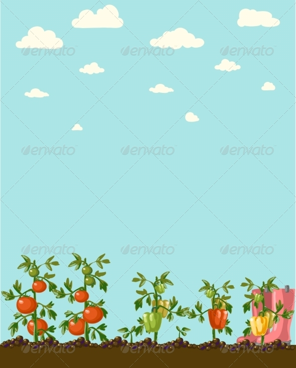 Vintage Garden Banner with Root Veggies - Flowers & Plants Nature