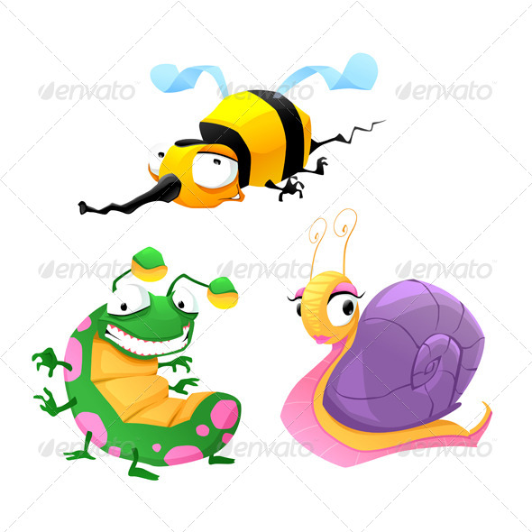 Two Funny Insects and One Snail - Animals Characters