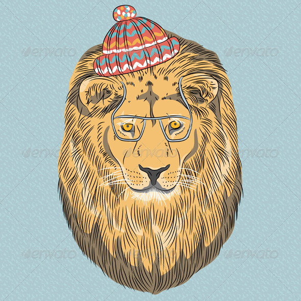Hipster Lion - Animals Characters