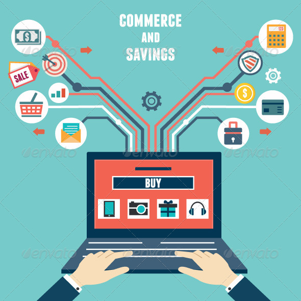 Vector Flat Concept of Commerce and Savings - Services Commercial / Shopping