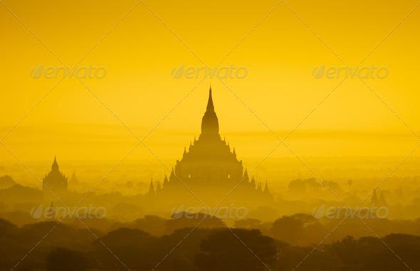 The Temples of bagan at sunrise, Bagan, Myanmar - Stock Photo - Images