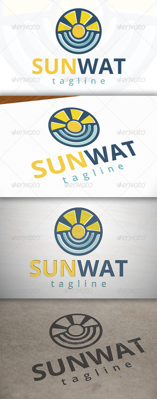 Sun Water Logo - Nature Logo Templates
