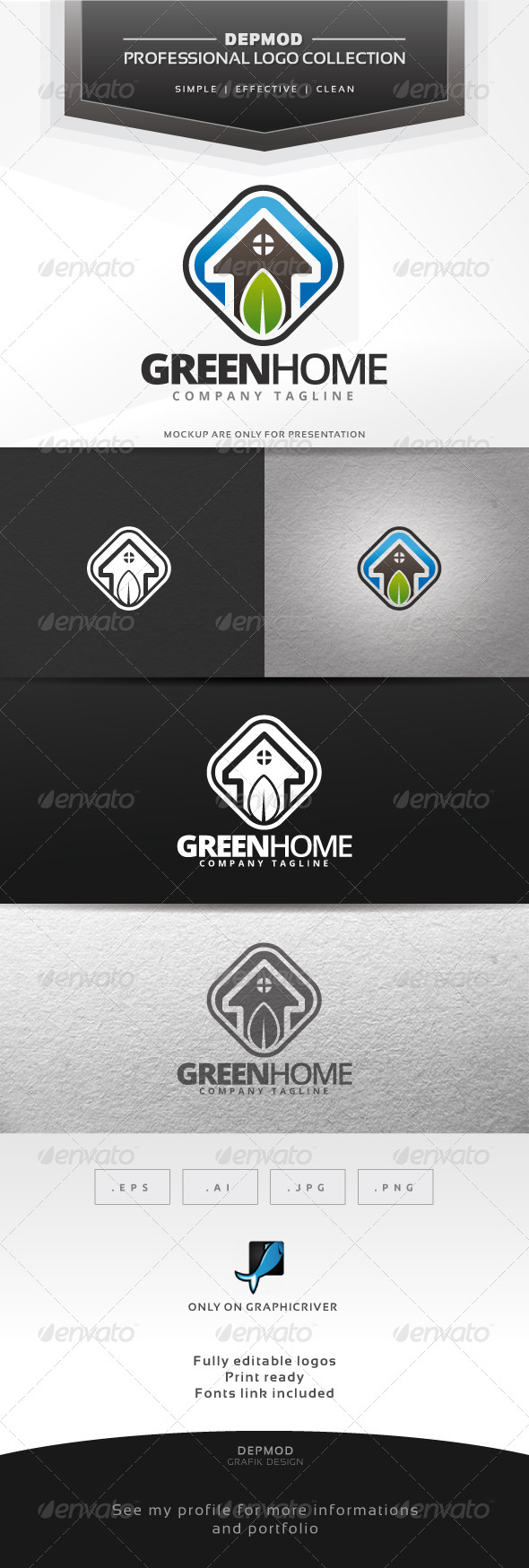 Green Home Logo - Symbols Logo Templates