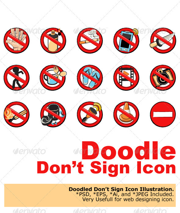 Doodle Dont Sign.  - Web Elements Vectors