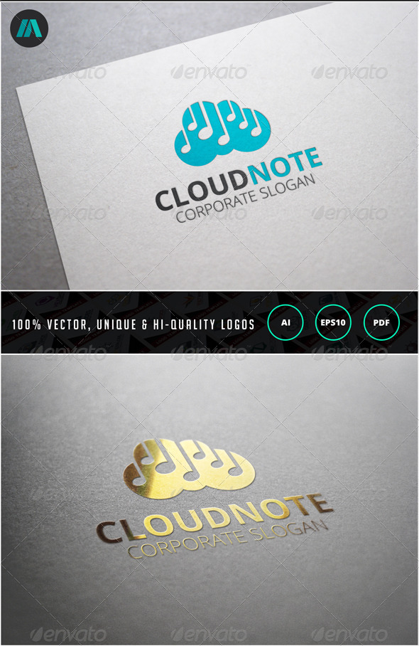 Cloud Note Logo Template - Objects Logo Templates