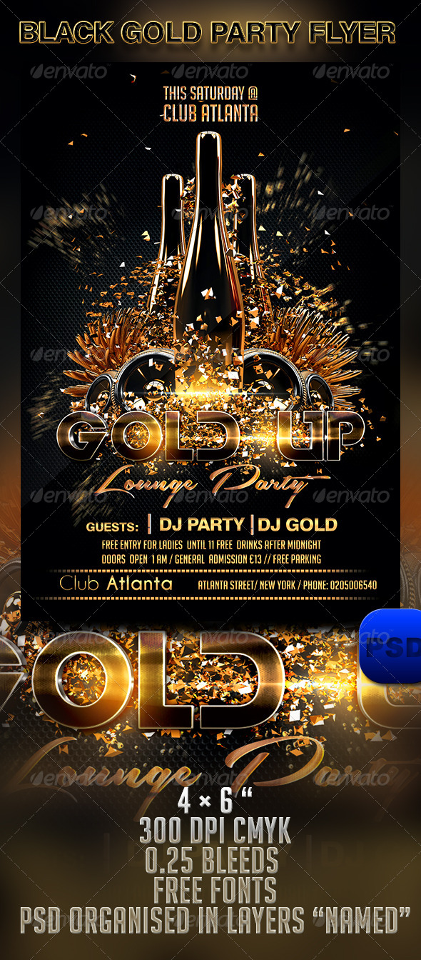 Black Gold Party Flyer Template by Stormclub GraphicRiver
