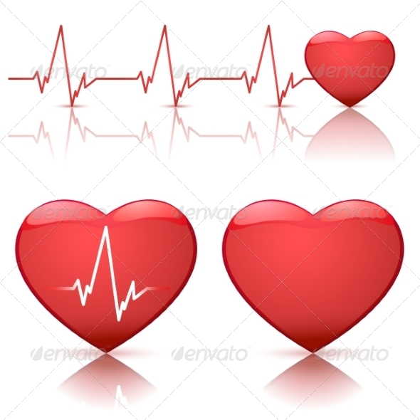 Illustration of Hearts with Heartbeat - Health/Medicine Conceptual