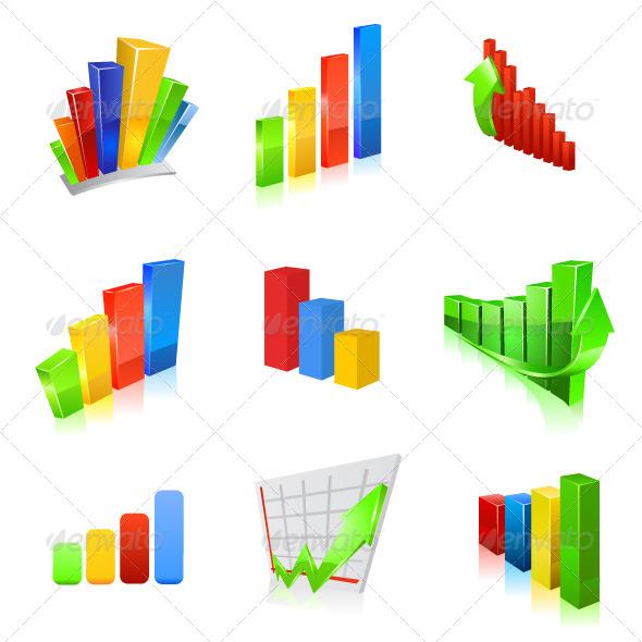 Business Graph Icon Set - Technology Conceptual