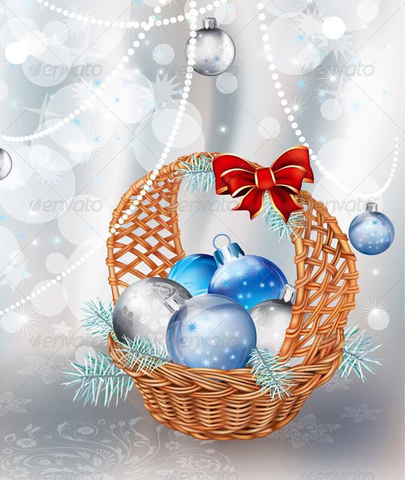 Christmas Basket on Silver Background - Backgrounds Decorative