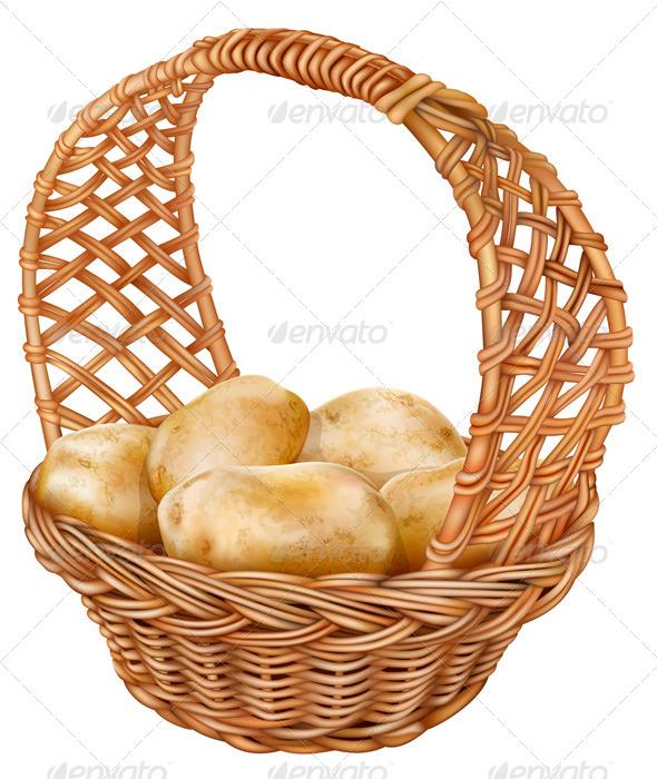 Potatoes in a Wicker Basket - Organic Objects Objects