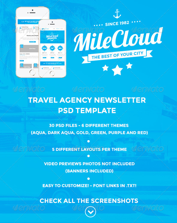 MileCloud Travel Agency Newsletter PSD Template - E-newsletters Web Elements