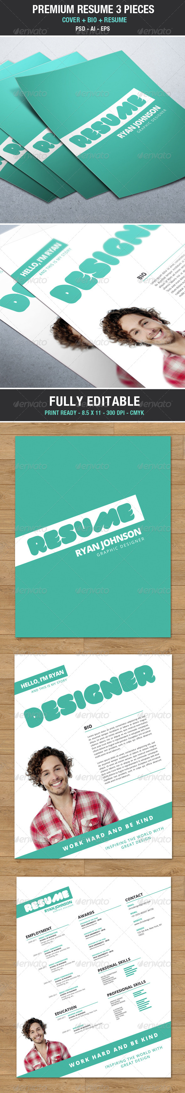 Modern and Trendy Resume / Cv with Cover V2 - Resumes Stationery
