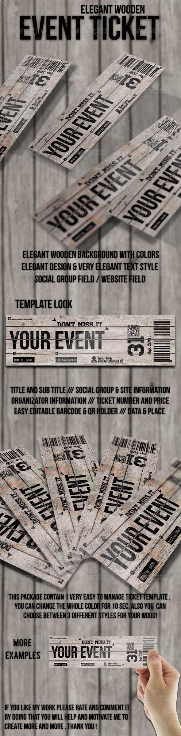 Elegant wooden ticket - Cards & Invites Print Templates