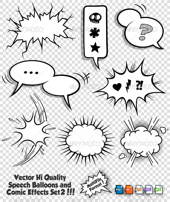 Comic Bubbles and Elements Set 2 - Vectors