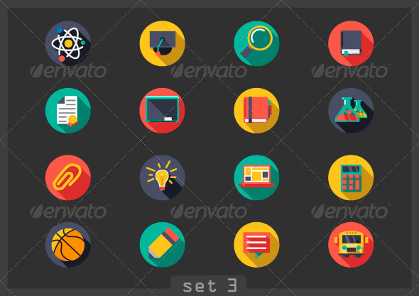 Flat Icons School - Web Icons