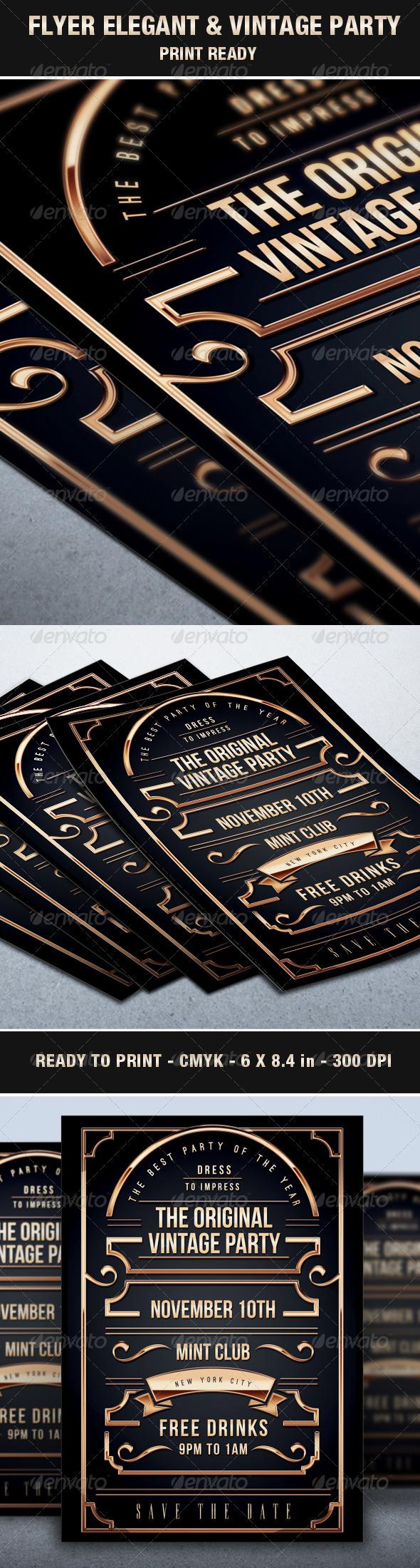 Flyer Vintage & Exclusive Party Elegant Luxury Vip - Events Flyers