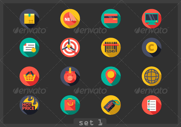 Flat Icons for Shopping - Media Icons