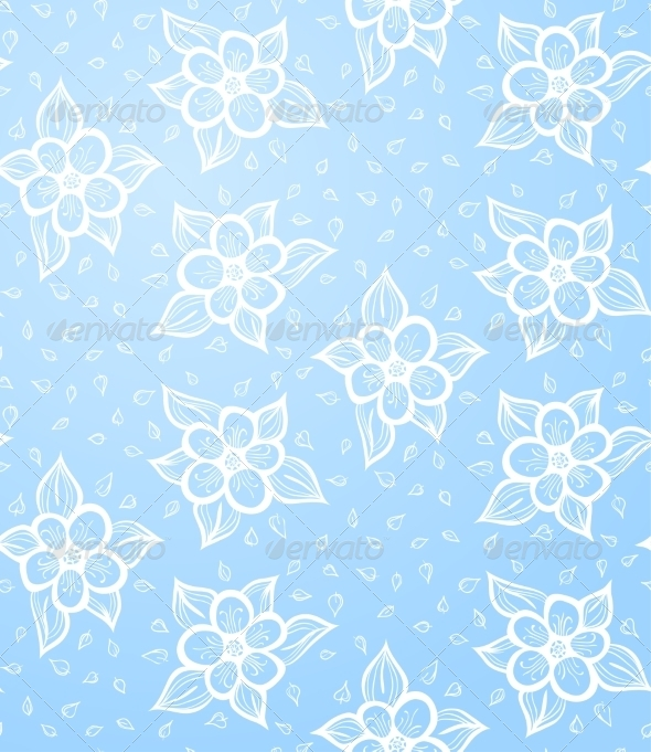 Seamless Floral Blue Background - Backgrounds Decorative