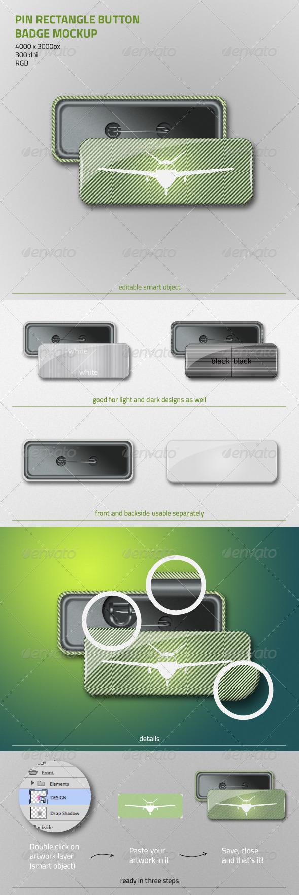 Pin Rectangle Button Badge Mockup - Product Mock-Ups Graphics
