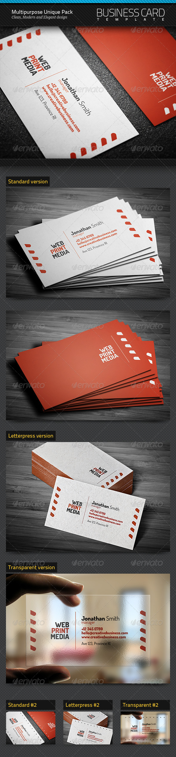 Multipurpose Unique Pack of Business Cards - Creative Business Cards