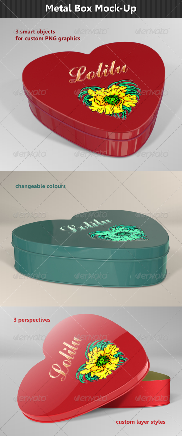 Heart Metal Box Mock-Up  - Miscellaneous Packaging
