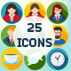 25 Flat Teamwork Icons Set - GraphicRiver Item for Sale