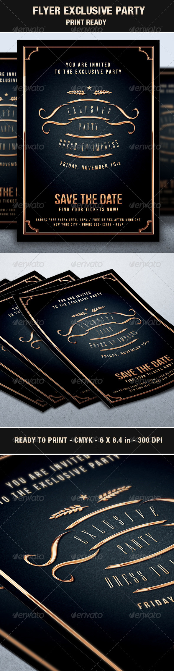 Flyer Exclusive & Elegant Party Vip Style - Events Flyers