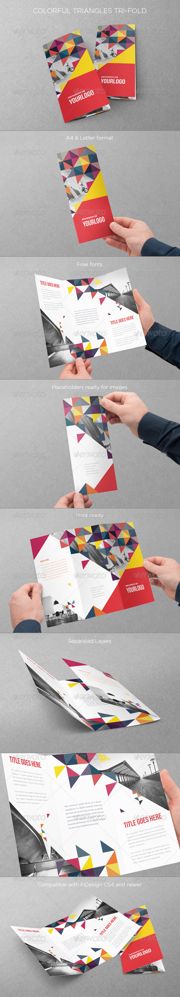 Colorful Triangles Trifold - Brochures Print Templates