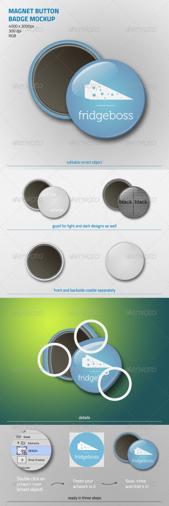 Magnet Button Badge Mockup - Miscellaneous Print